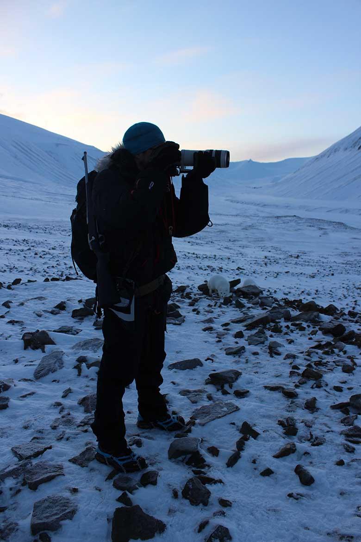 Oddgeir fotografiert und die Polarfüchse stellen sich schon an - Björndalen Longyearbyen Spitzbergen Arktis Fototour mit See and Explore www.gindeslebens.com
