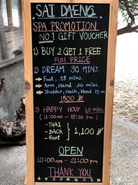 Spa - Aktivitäten Sai Daeng Resort Koh Tao Thailand www.gindeslebens.com