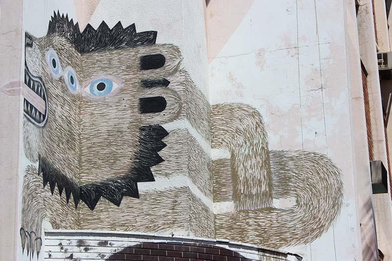 Löwe Mural Woodstock Südafrika